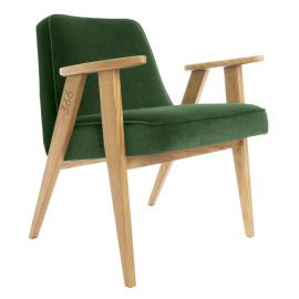 Fotoliu 366 Armchair, VELVET verde inchis/ stejar