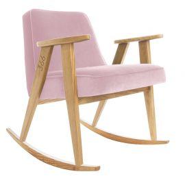 Fotolii - Scaun balansoar VELVET roz deschis/ stejar