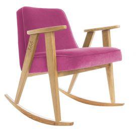 Fotolii - Scaun balansoar VELVET roz/ stejar