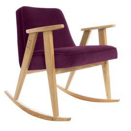 Fotolii - Scaun balansoar VELVET violet inchis/ stejar