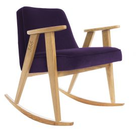 Fotolii - Scaun balansoar VELVET violet/ stejar