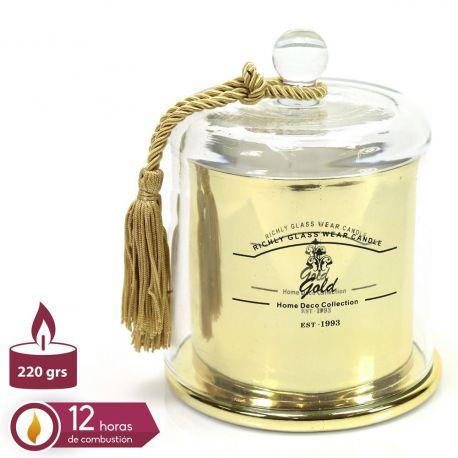 Parfumuri de camera, Idei cadouri, Obiecte decorative - Suport lumanare din sticla QUESERA, auriu