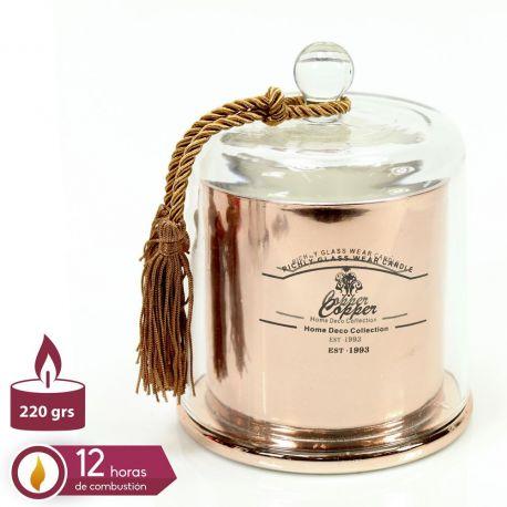 Parfumuri de camera, Idei cadouri, Obiecte decorative - Suport lumanare din sticla QUESERA, cupru