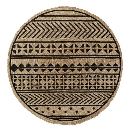 Covoare - Covor rotund din iuta CECILE 100cm, natur/ negru