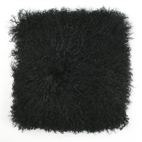 Perne si fete de perne - Perna cu piele de oaie LW Tibetan 50x50cm Velvet Black