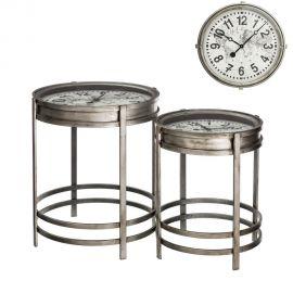 Set de 2 masute cu ceas incadrat, design industrial vintage Reloj