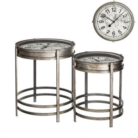 Masute Living - Set de 2 masute cu ceas incadrat, design industrial vintage Reloj