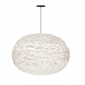 Pendule, Lustre suspendate - Pendul XXL modern cu pene de gasca EOS alb, 110cm