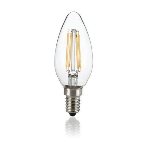 Becuri E14 - Bec LED E14 Oliva Trasparente 3000K