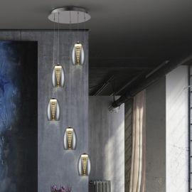Lustra LED design modern cu 5 pendule Nebula