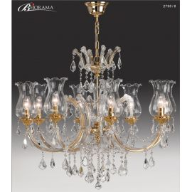 Candelabre, Lustre - Candelabru cu 8 brate, design LUX, placat cu aur si cristale Asfour, Anais