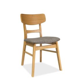 Scaun din lemn cu sezut tapitat CD-61, stejar/ gri