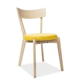 Scaune - Scaun modern din lemn cu sezut tapitat, NELSON galben