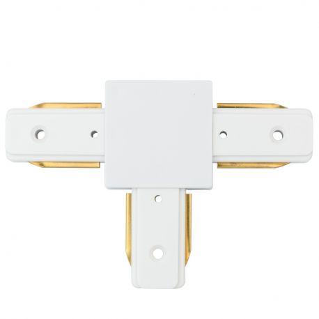 Spoturi, Proiectoare pe sina  - Conector, Accesoriu sina metalica alba pentru spoturile Galax, Rony, Rondo CON 2T WT