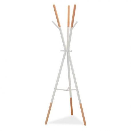 Garderobe - Cuier din lemn si metal HUDSON, alb/ fag