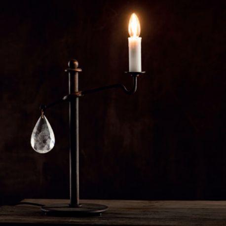 Veioze, Lampadare Fier Forjat - Lampa de masa din fier forjat si cristal de stanca TL 4103
