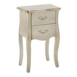Noptiere - Noptiera eleganta cu doua sertare, argintie, FRANCÉS