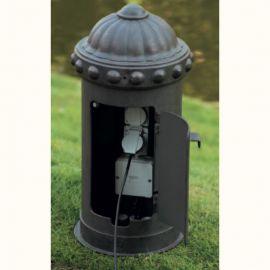 Iluminat Fier Forjat de Lux - Stalp cu doua prize pentru exterior din fier forjat, inaltime 53cm AL 6858