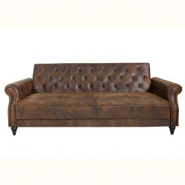 Canapele - Canapea extensibila design Chesterfield, Belle Affaire 220cm, maro antic