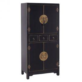 Comode - Dulap cu trei sertare si patru usi, ORIENT negru/ auriu