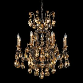 Lustre Cristal Schonbek - Lustra LUX 8 brate, stil baroc, cristal Swarovski Golden Teak, Renaissance 3771