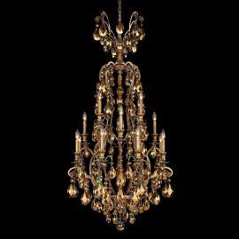 Lustre Cristal Schonbek - Lustra LUX 16 brate, stil baroc, cristal Swarovski Golden Teak, Renaissance 3782