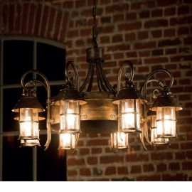Lustre Exterior Fier Forjat - Candelabru iluminat exterior din fier forjat, HL 2591