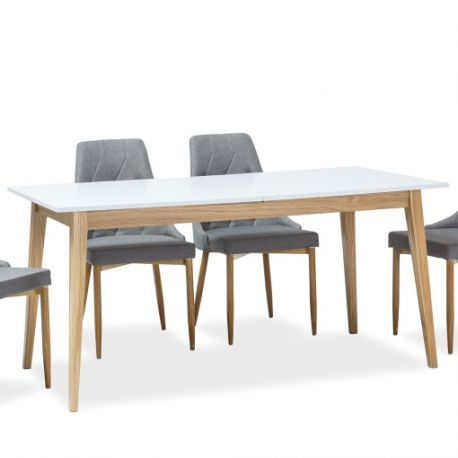Mese extensibile - Masa extensibila CESAR alb/ stejar 160-205x80cm
