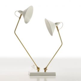 Veioze - Veioza / Lampa de masa din metal design retro Narcisse alba