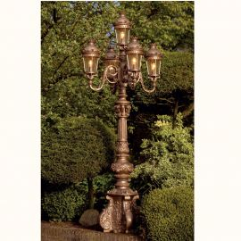 Stalpi Fier Forjat - Stalp cu 5 brate iluminat exterior din fier forjat, inaltime 330cm, AL 6879