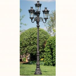 Stalpi Fier Forjat - Stalp cu 4 brate iluminat exterior din fier forjat, inaltime 444cm, AL 6814