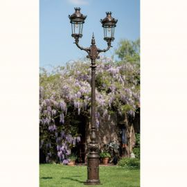 Stalpi Fier Forjat - Stalp cu 2 brate iluminat exterior din fier forjat, inaltime 443cm, AL 6719
