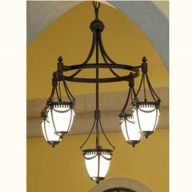 Lustre Exterior Fier Forjat  - Candelabru iluminat exterior din fier forjat, HL 2595