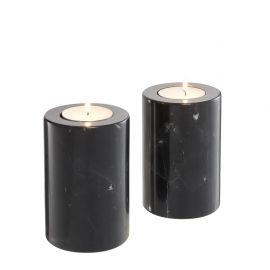 Set 2 suporturi pentru lumanari Tobor S negru