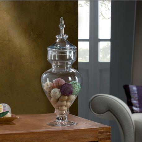 Vaze - Vaza decorativa cu capac GLASS VASE 45,5cm