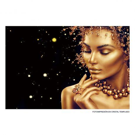 Tablouri - Tablou decorativ Mujer 80x120cm negru/ auriu