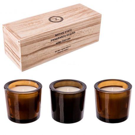 Parfumuri de camera, Idei cadouri, Obiecte decorative - Set de 3 lumanari parfumate, GENTELMEN, Granada Noir