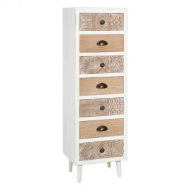 Dulapuri - Dulapior cu 7 sertare design vintage KAIRA, alb/ natur