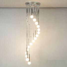 Lustra casa scarii cu 16 surse de lumina Spiralluster, crom