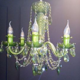 Lustre Cristal Bohemia - Lustra 6 brate cristal Bohemia, nickel/ olivine