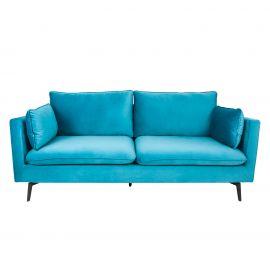 Canapele - Canapea fixa 3 locuri Famous 210cm, catifea albastra