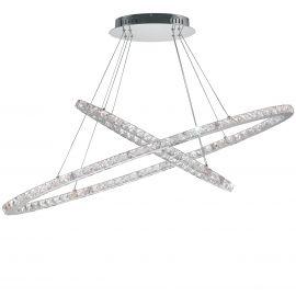 Lustra LED eleganta cu doua inele si cristale K9 Melody D-120cm