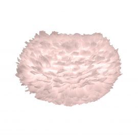 Pendule, Lustre suspendate - Abajur modern cu pene de gasca EOS roz, 45cm