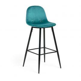 Scaune Bar - Scaun de bar NILSON, catifea verde smarald/ negru