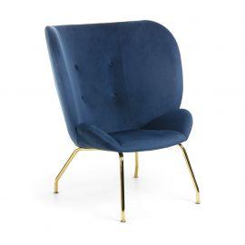 Fotoliu confortabil VERNEN auriu/ albastru inchis