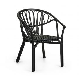 Scaune - Scaun cu brate pentru interior si exterior din rattan CORYNN, negru