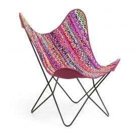 Fotoliu confortabil design fluture, FLYNN, tesatura multicolora