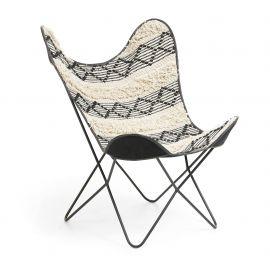 Fotolii - Fotoliu confortabil design fluture, FLYNN, tesatura negru si alb