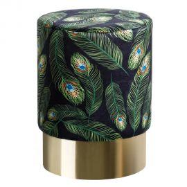 Banchete-Tabureti - Taburete elegant Titan, negru cu pene verzi