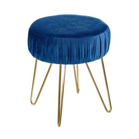 Banchete-Tabureti - Taburete elegant Iulia, albastru-auriu, 35cm